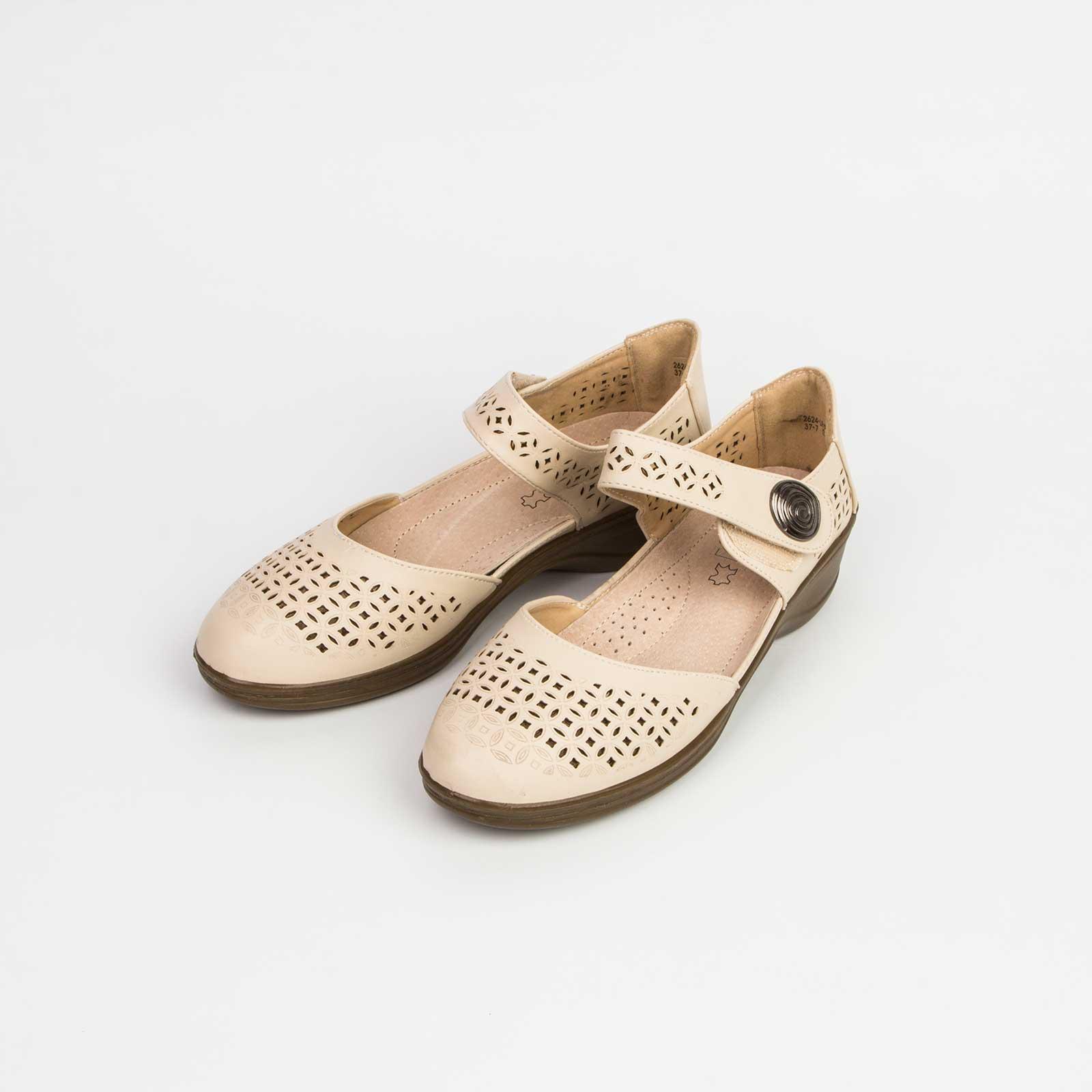 Туфли женские декорированные перфорацией  на удобной подошве