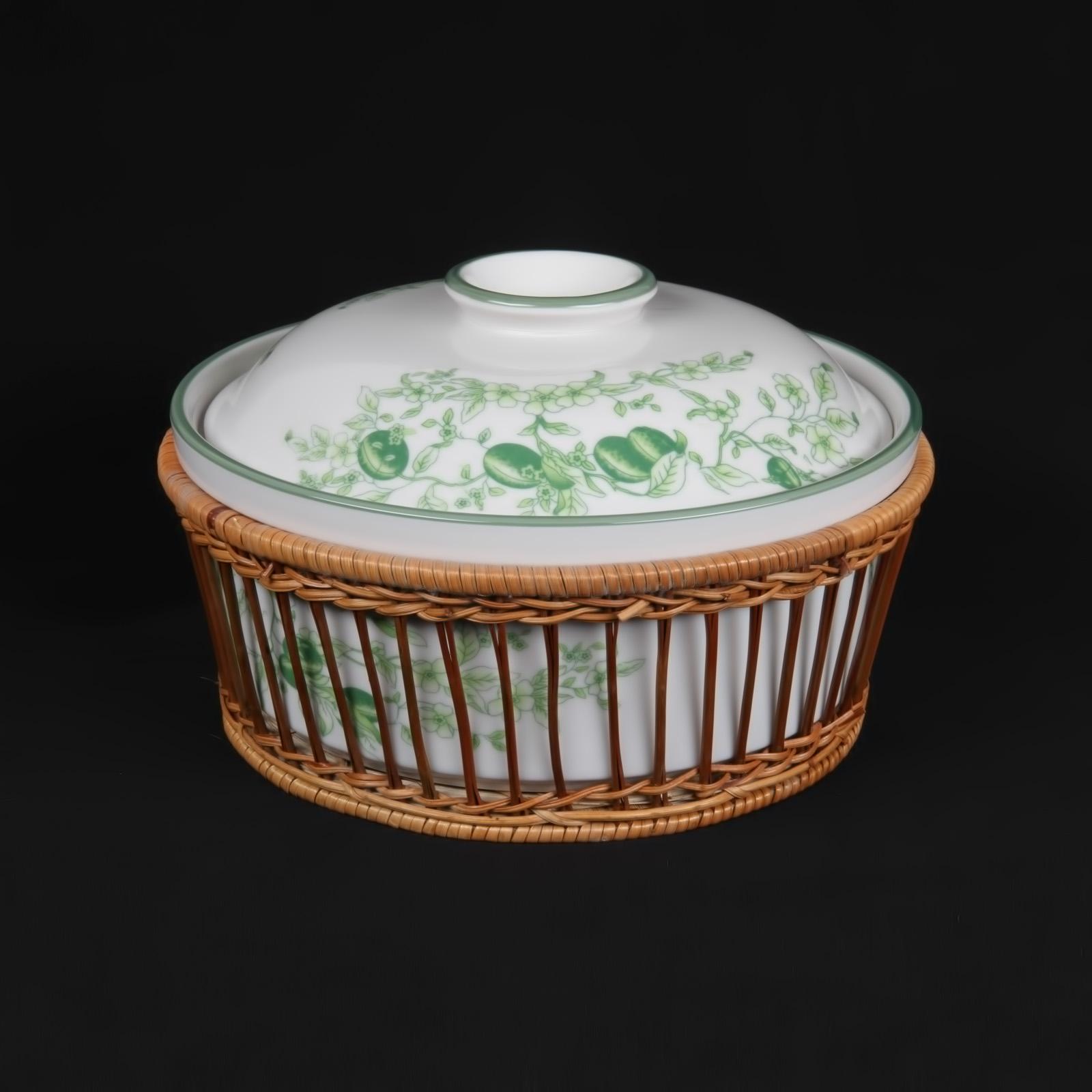 Керамическая кастрюля «Дикая слива» + бамбуковая корзина
