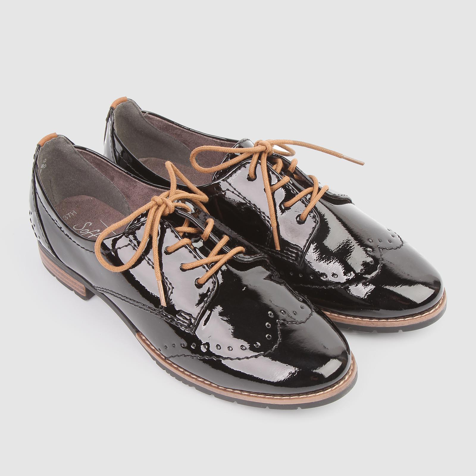 Ботинки женские лакированные на шнурках
