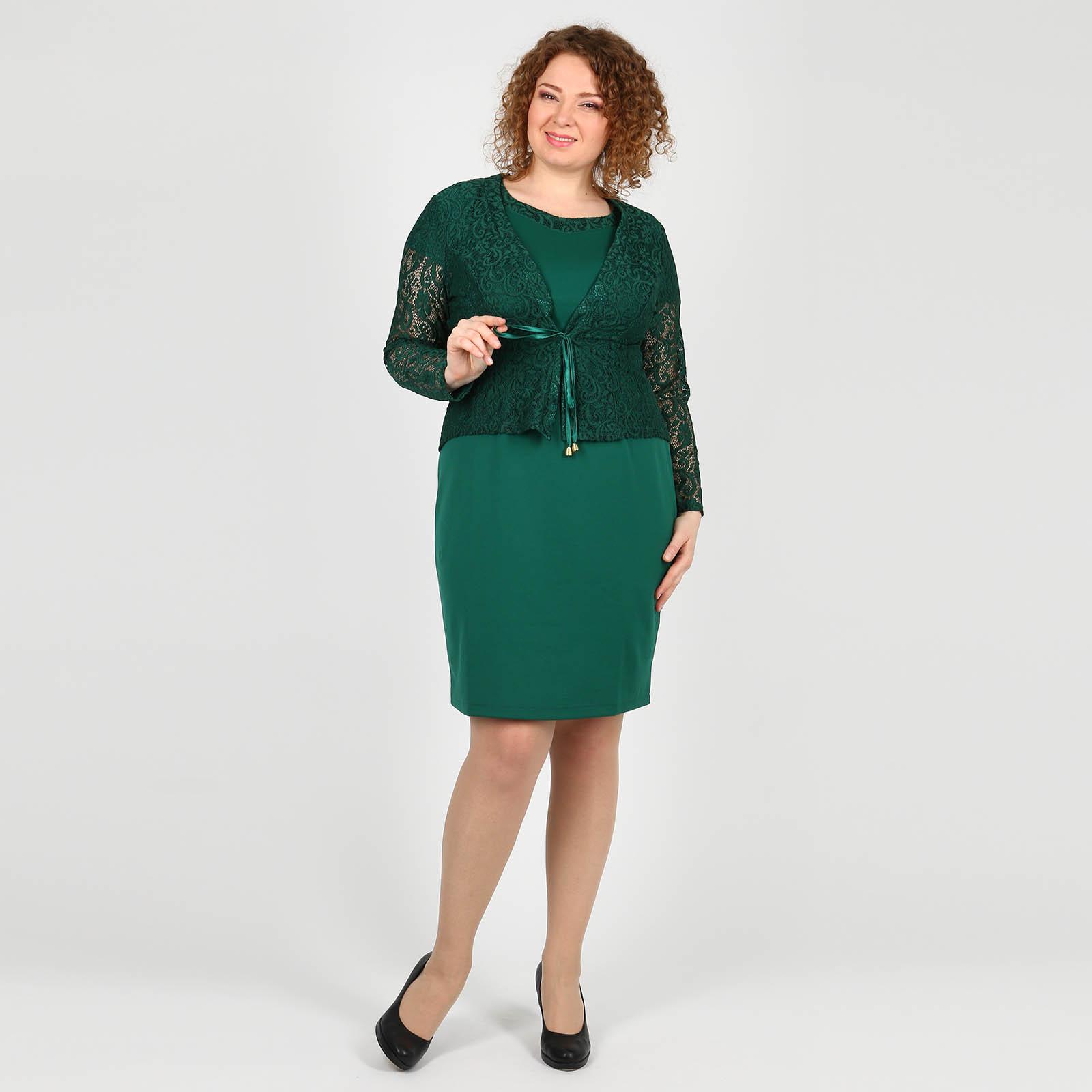 Комплект: платье с кружевным жакетом