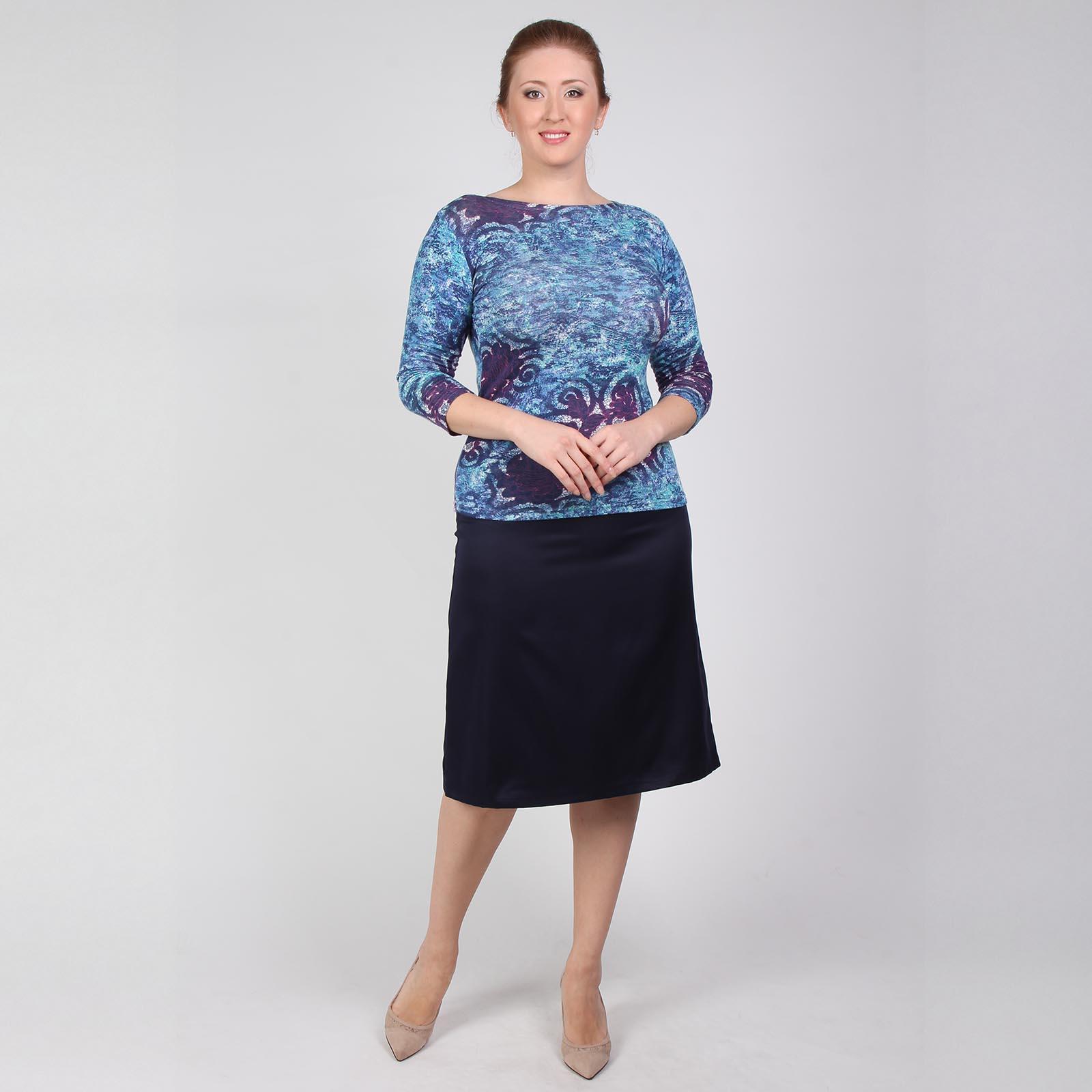 Блуза с укороченными рукавами и дизайнерским принтом
