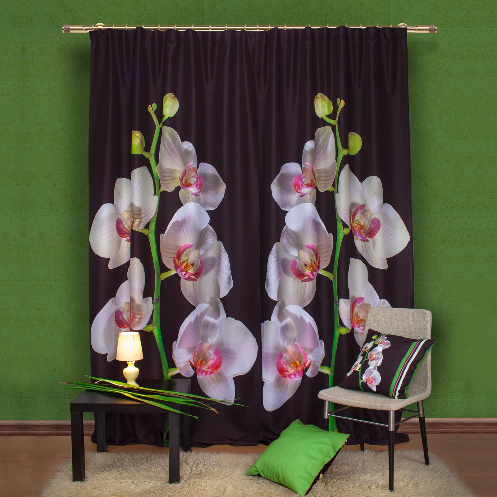 Комплект штор + 2 подушки «Орхидея»