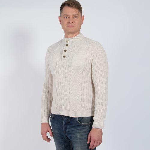 Пуловер мужской оригинальной вязки с карманами на груди