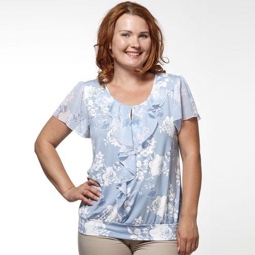 Блуза с шифоновыми рукавами и вырезом «капля»