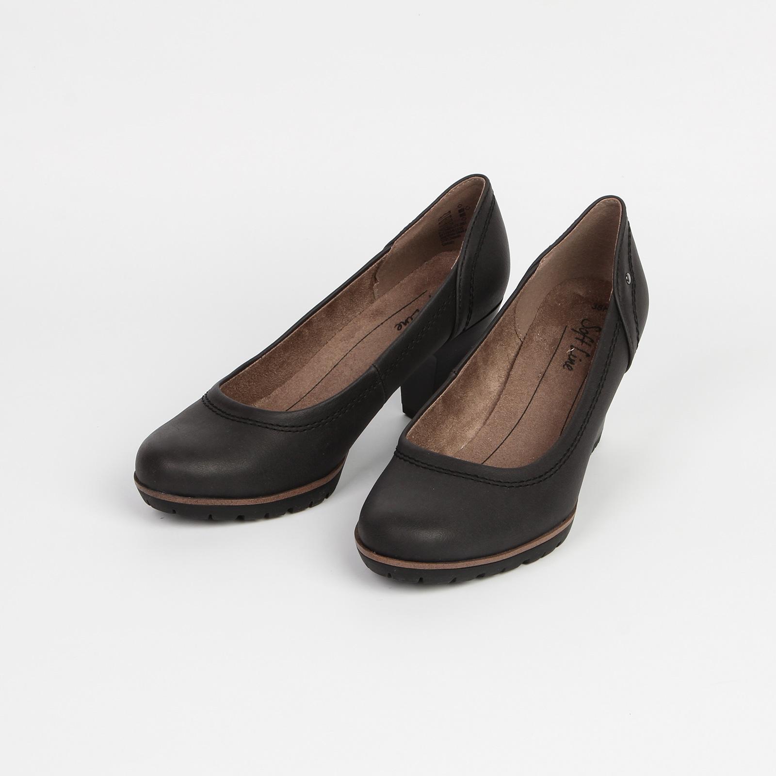 Лодочки женские на рифленой подошве и каблуке