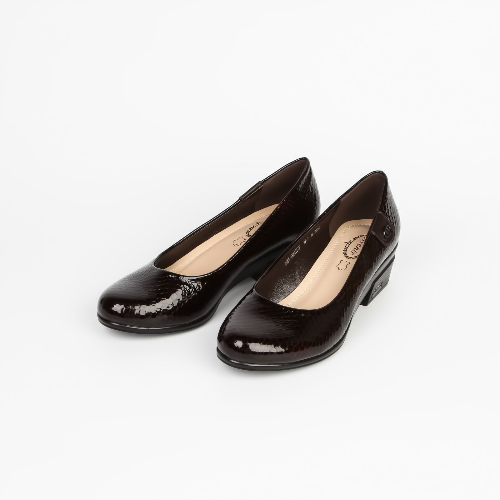 Туфли женские лакированные под «рептилию» на устойчивом каблуке