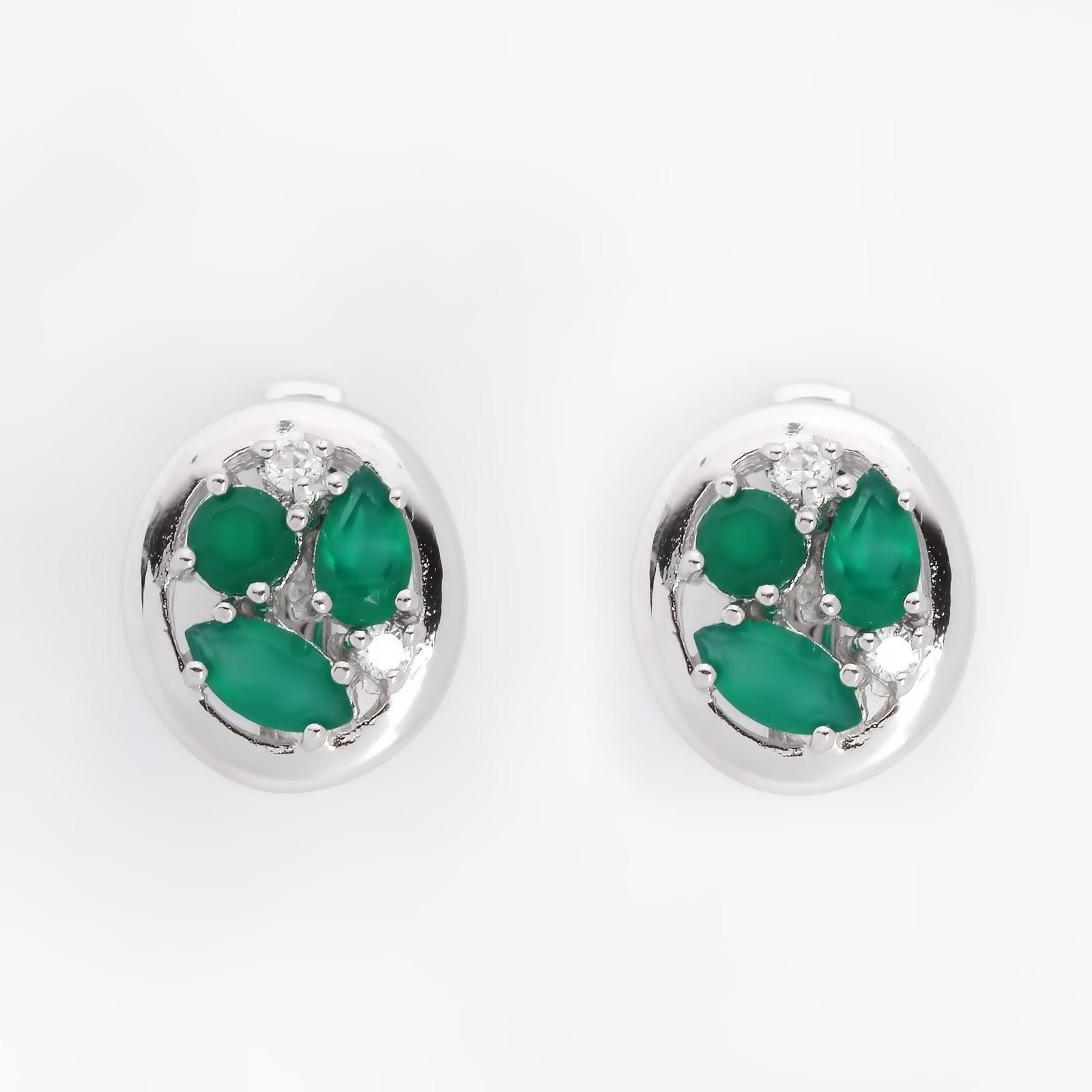 Серебряные серьги «Зеленые агаты»
