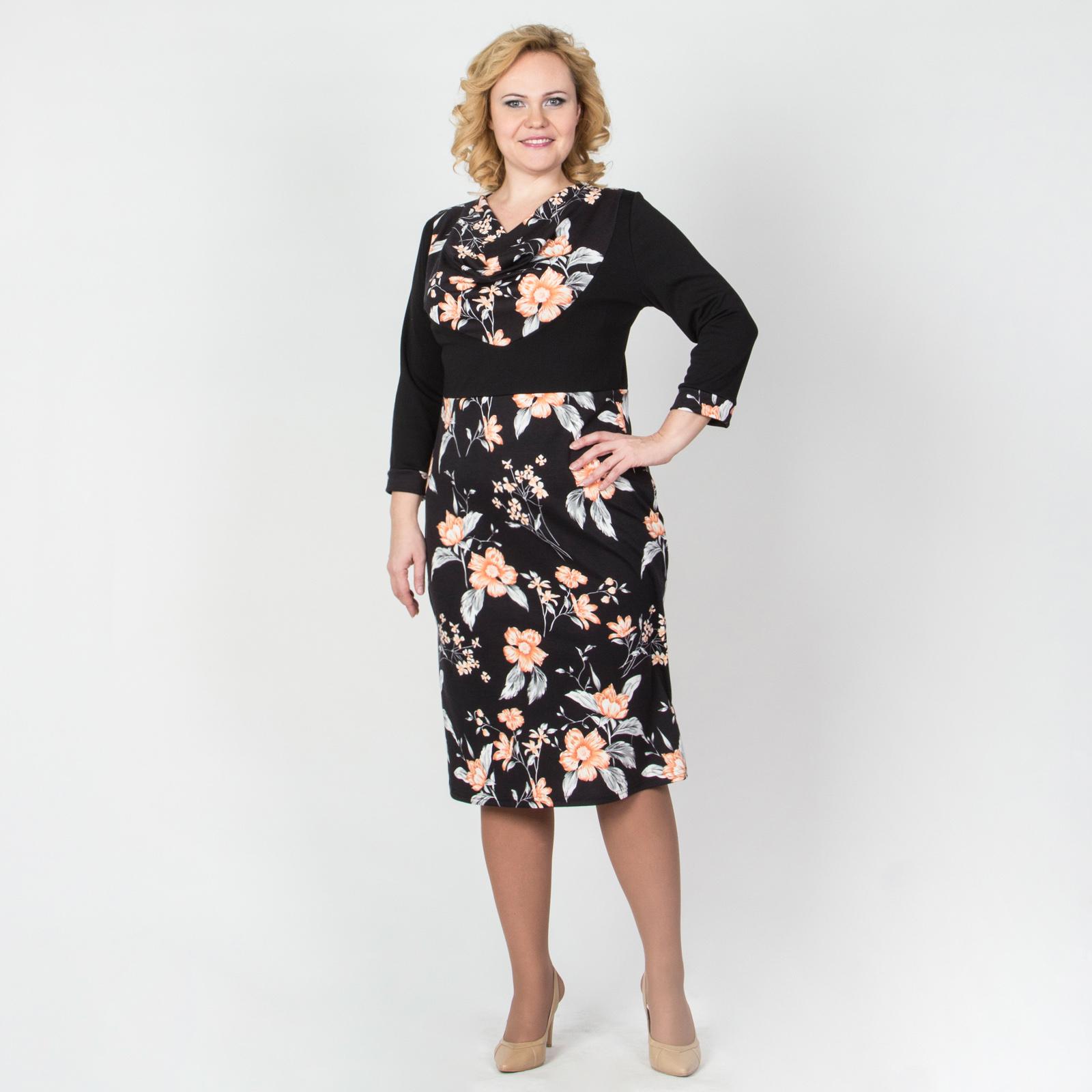 Платье с воротником-хомут и цветочными вставками