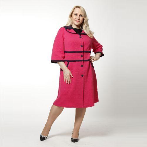 Пальто трикотажное с оригинальной отделкой