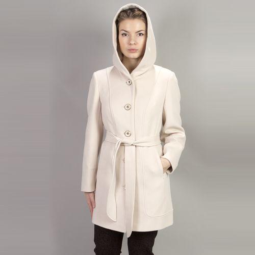 Велюровое пальто свободного кроя с капюшоном и поясом
