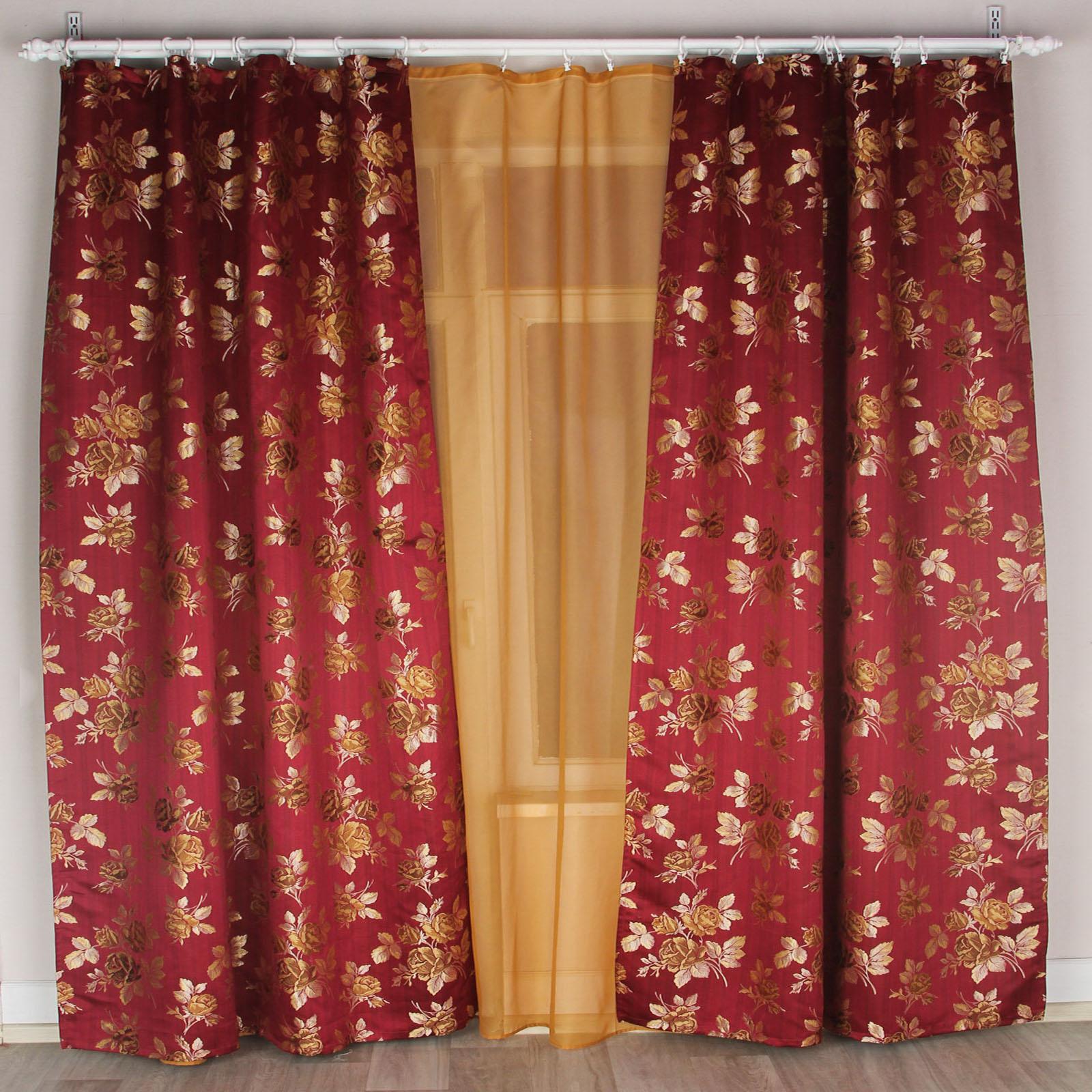 Комплект штор + тюль «Бордовый Лувр»