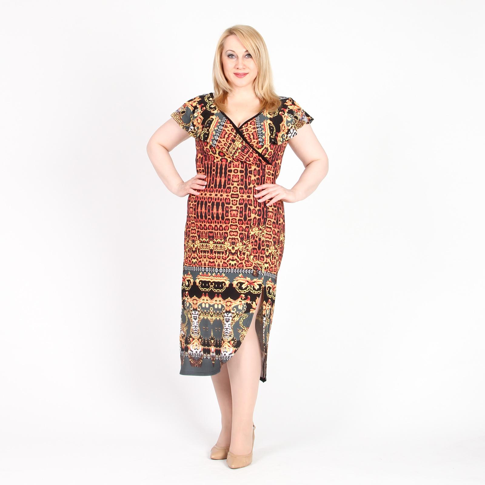 Платье оригинального кроя с комбинированным принтом