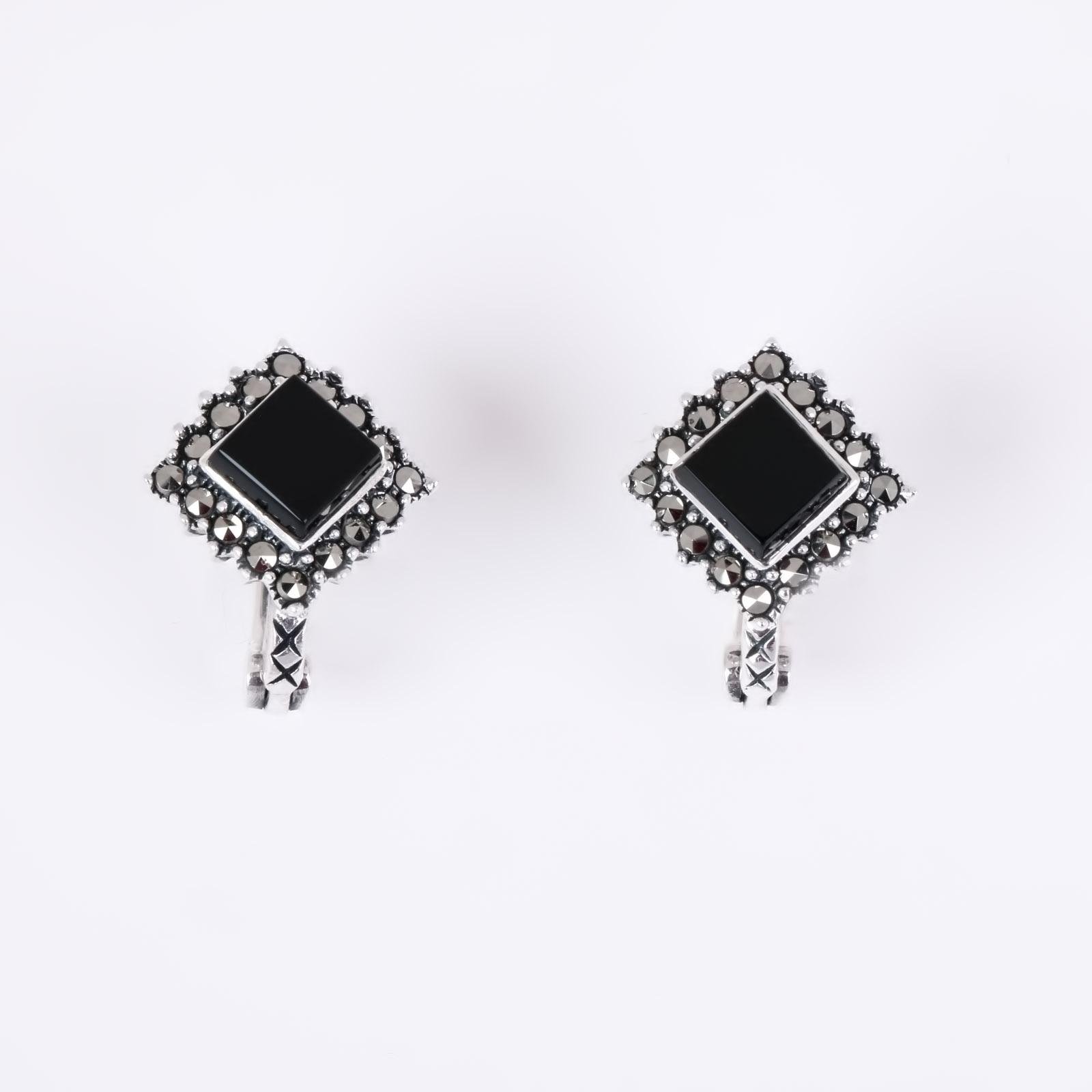 Серебряные серьги «Куб»