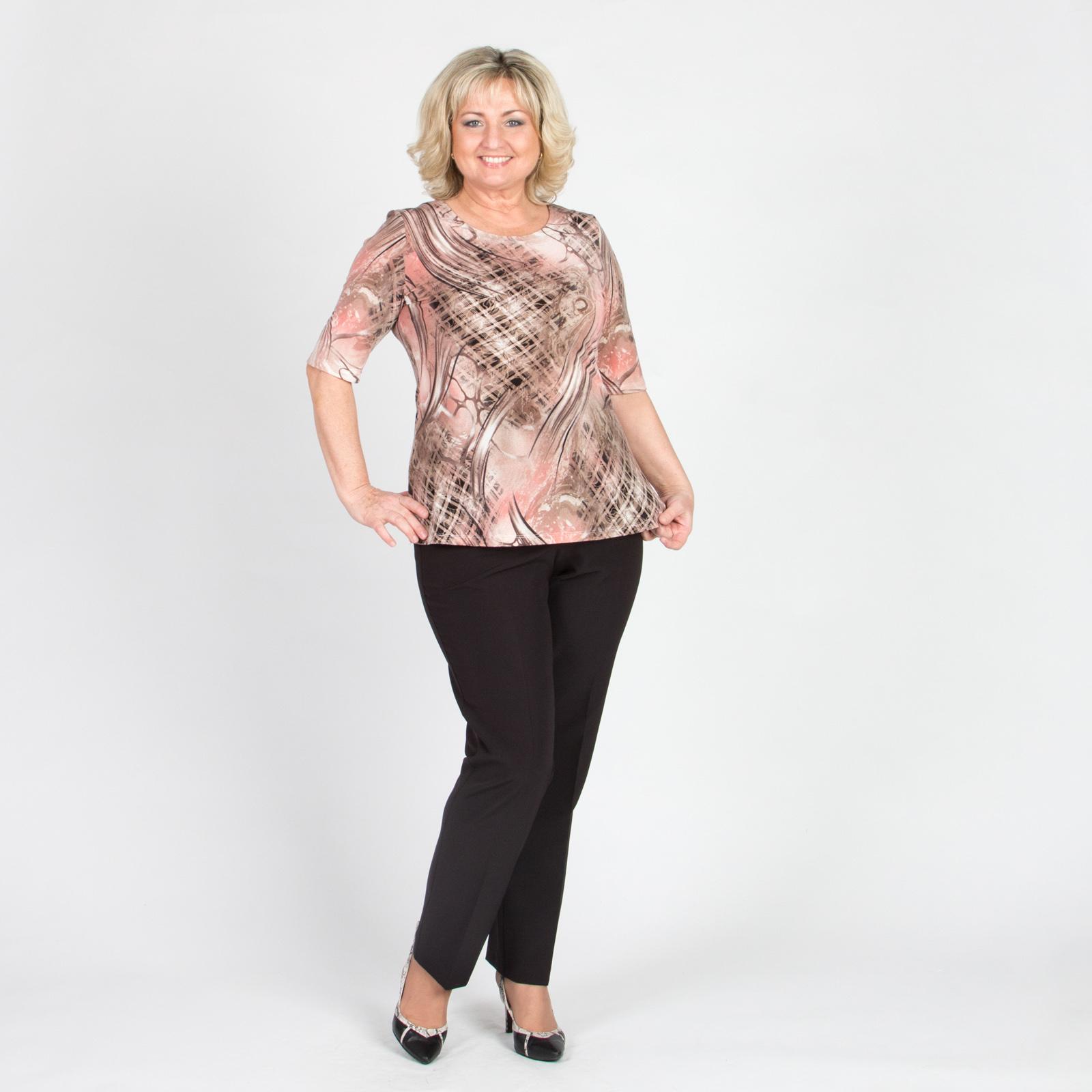 Блуза с комбинированным принтом