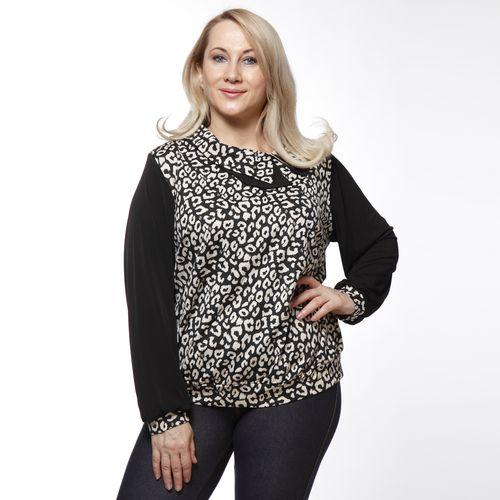 Блуза с оригинальным воротом и леопардовым принтом