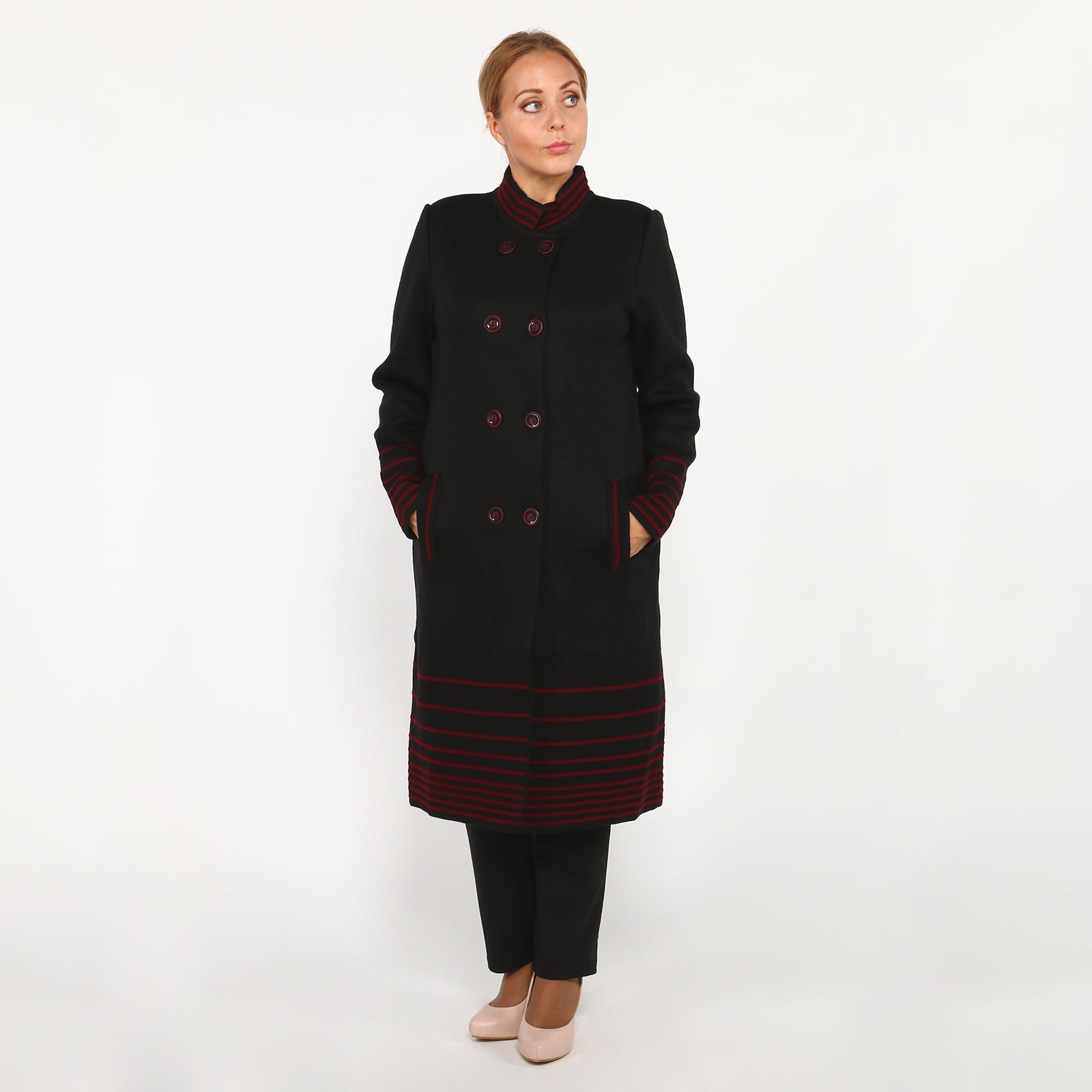 Пальто трикотажное с карманами и отделкой
