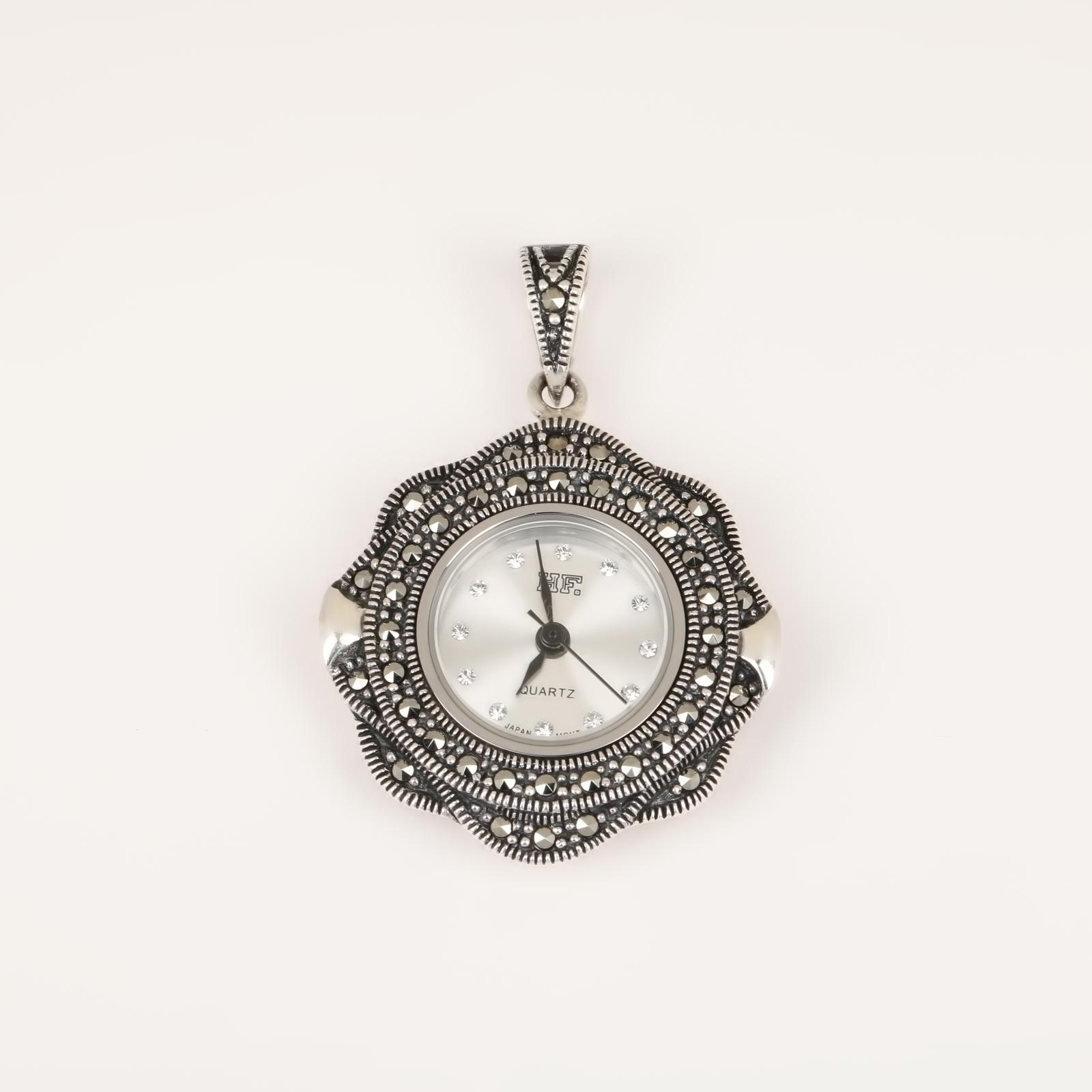 Серебряная подвеска «Ажурные часы»