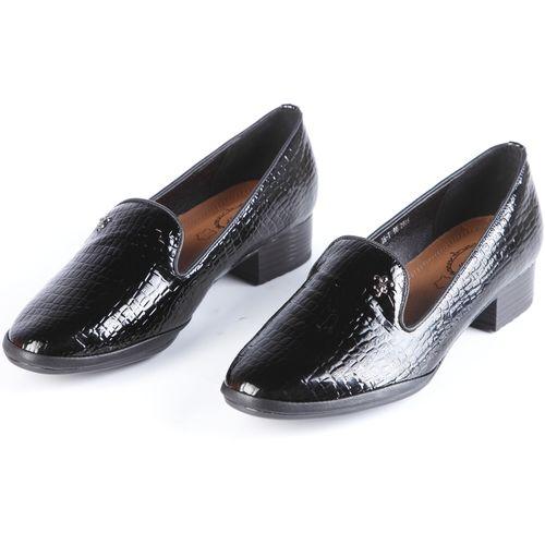 Туфли женские на широком каблуке с тиснением под рептилию