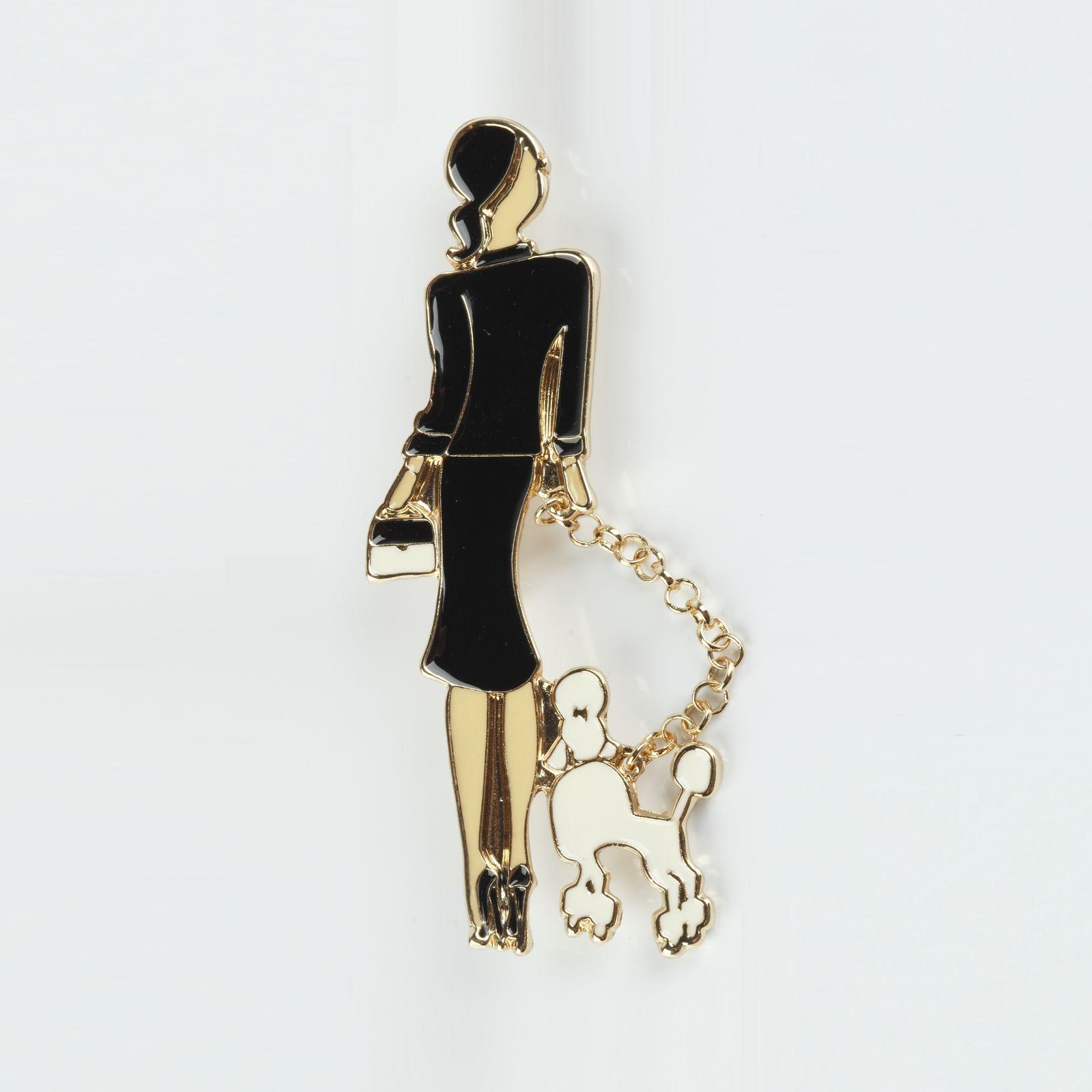 Брошь «Девушка с собачкой»