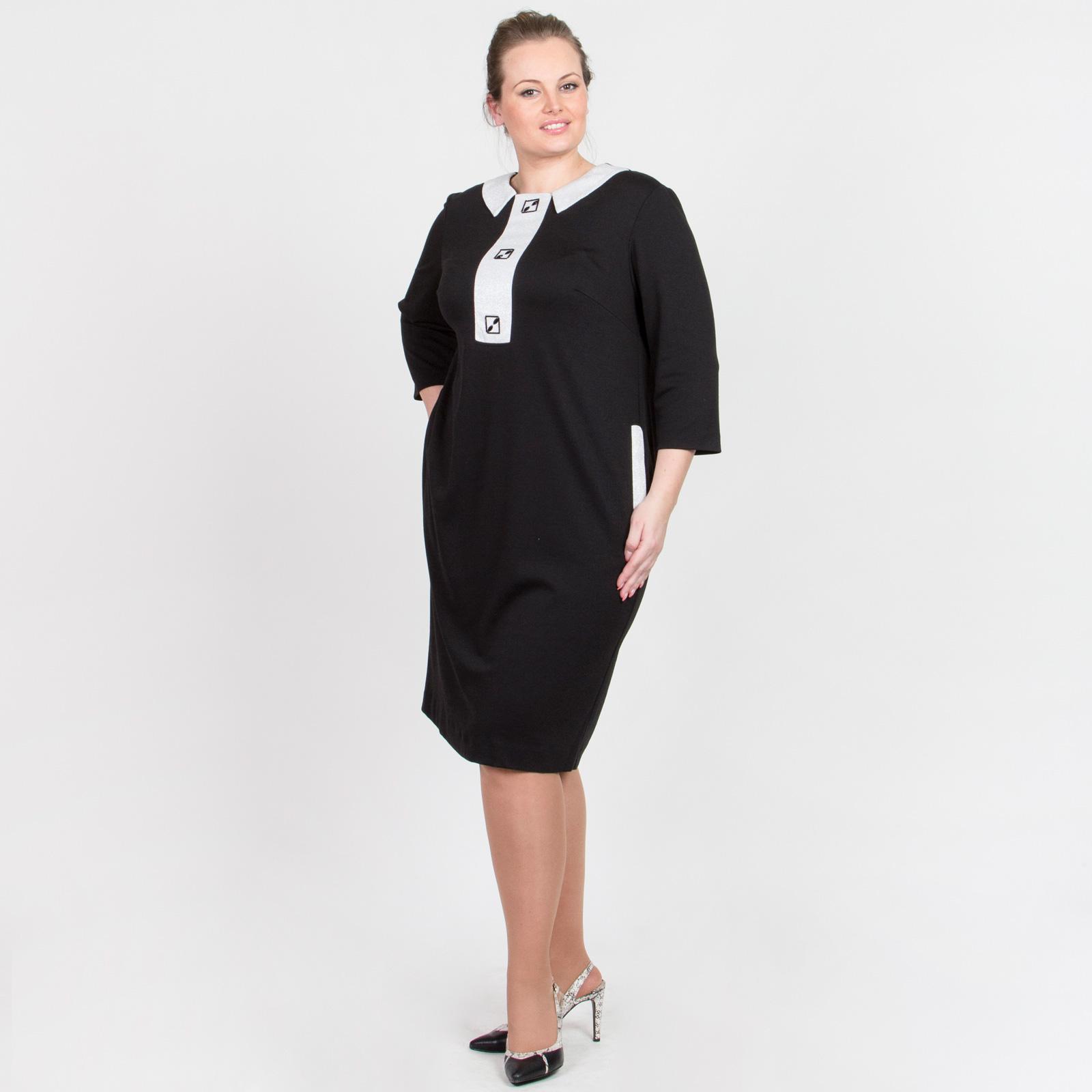 Платье прямого кроя с блестящими вставками