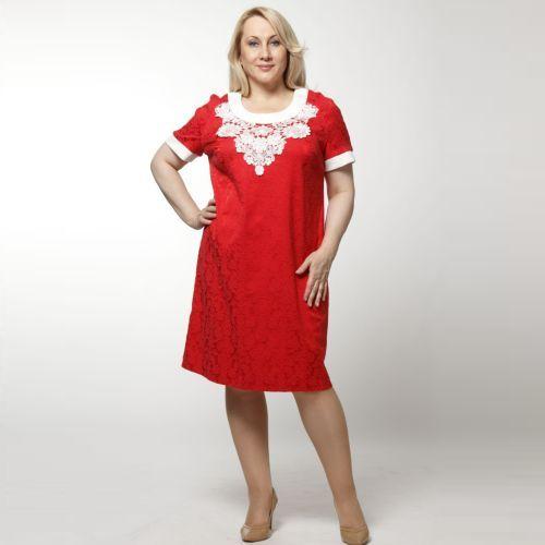 Платье жаккардовое с отделкой из кружева