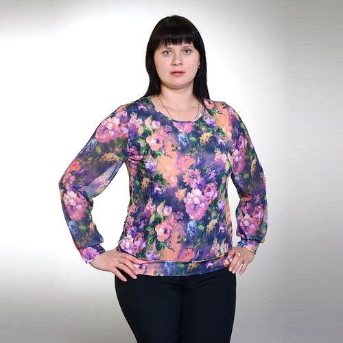Блуза сокруглым вырезом горловины и шифоновым рукавом