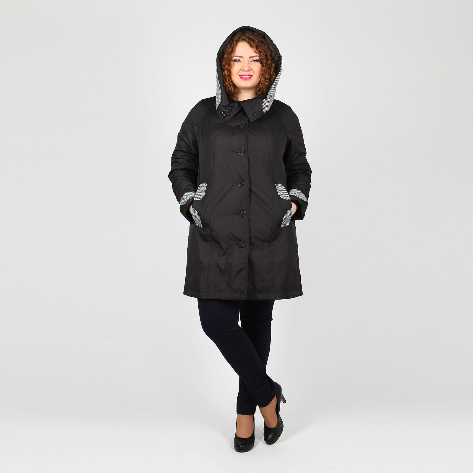 Пальто на пуговицах с карманами и капюшоном
