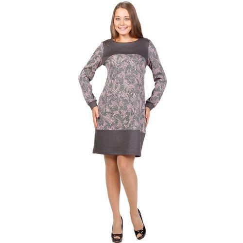 Трикотажное платье с узорами и контрастными вставками