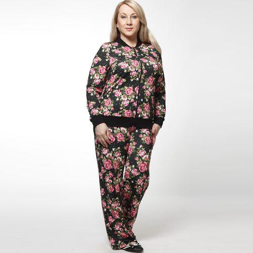 Комплект: ветровка и брюки с ярким цветочным принтом