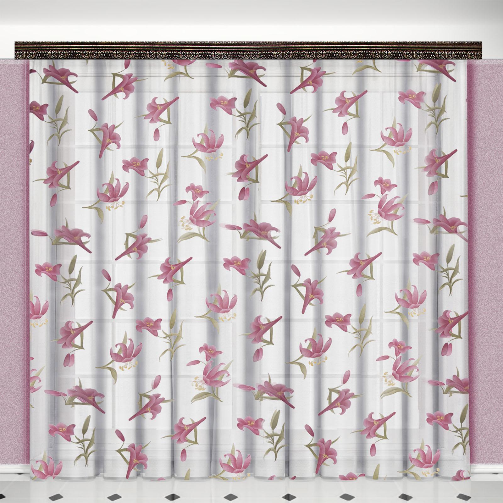 Тюль «Розовые лилии»