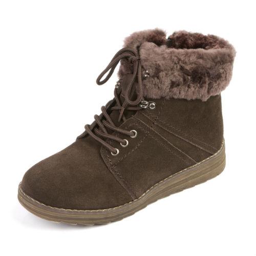 Удобные женские ботинки с меховой опушкой