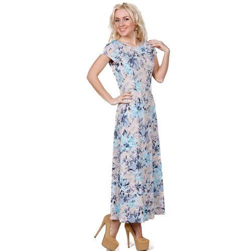 Платье-макси с принтом «голубые цветы»
