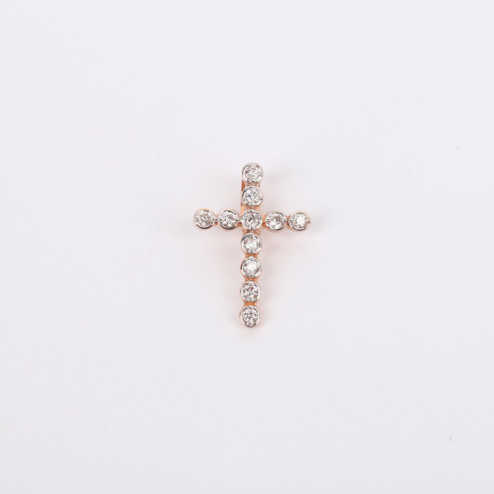 Крест из красного золота с бриллиантами