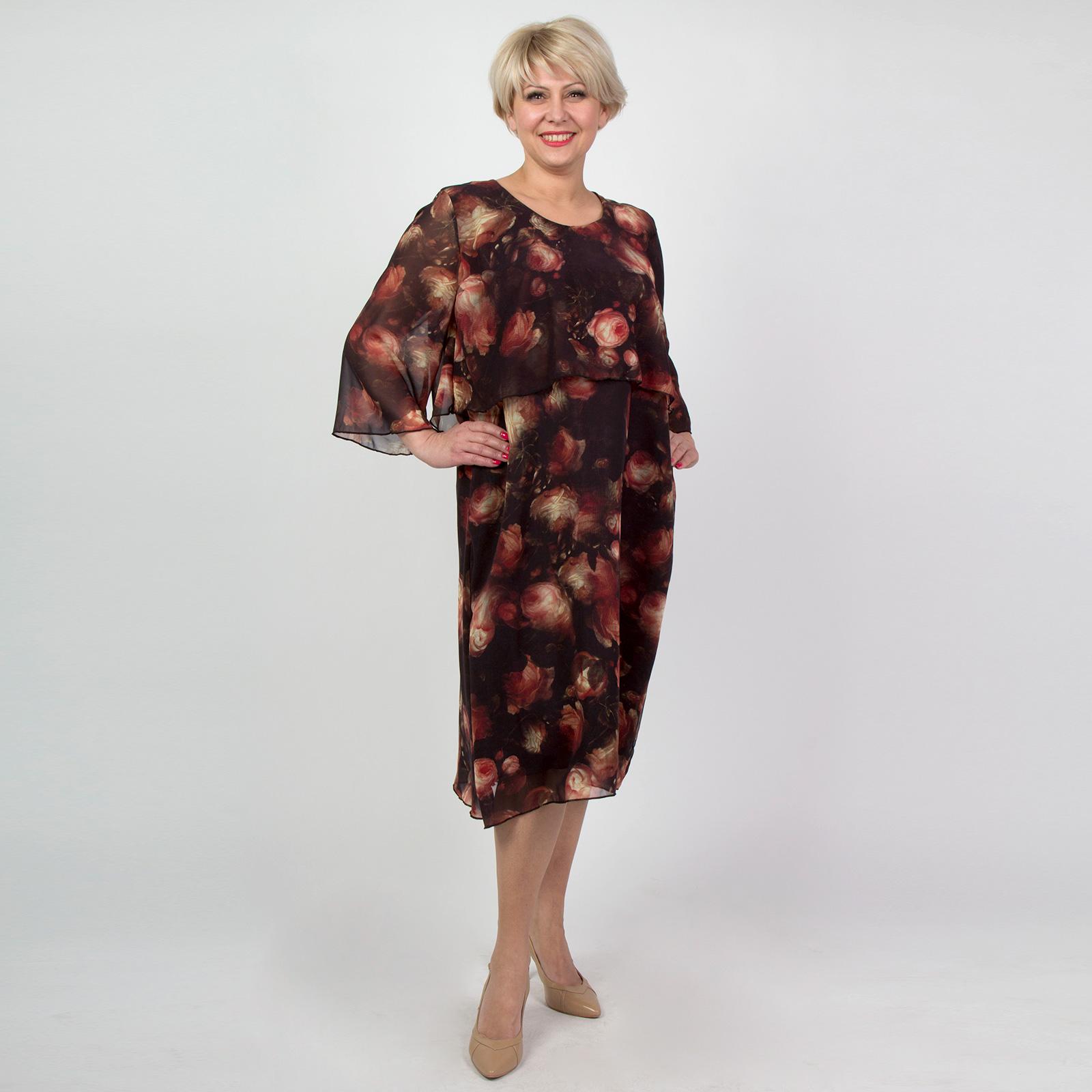 Платье свободного кроя из шифона с цветочным принтом платье с цветочным принтом