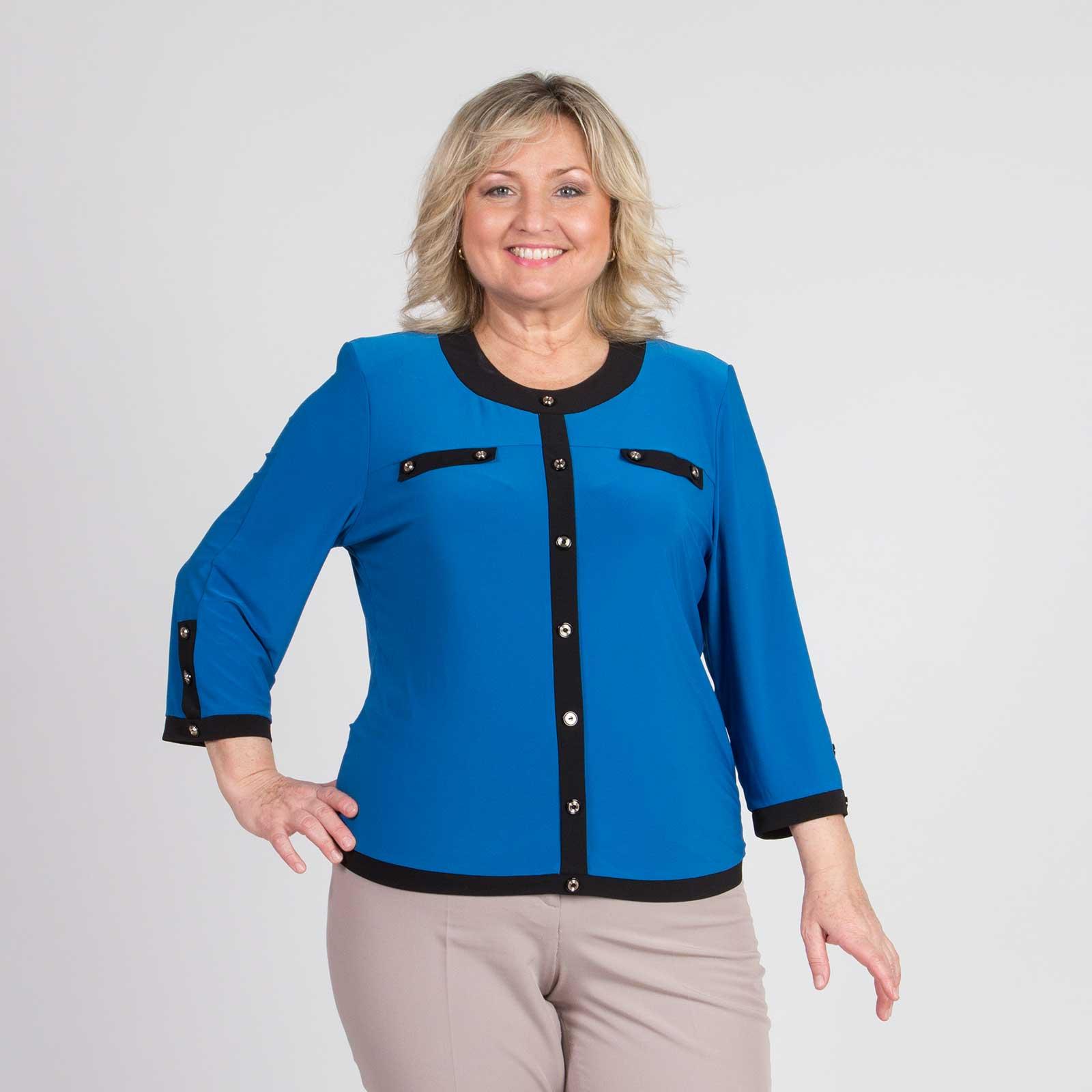 Блуза лаконичного кроя с округлым вырезом