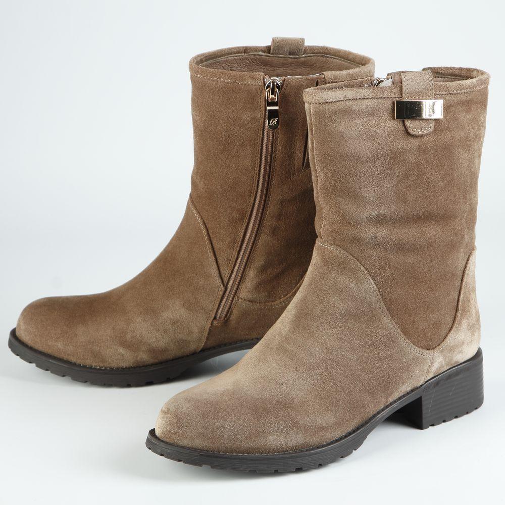 Ботинки женские из натурального велюра на низком каблуке