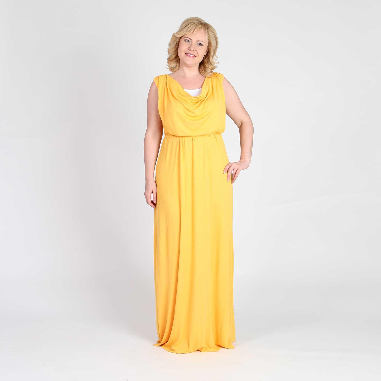 Платье макси с воротником «качели» и завязками на талии