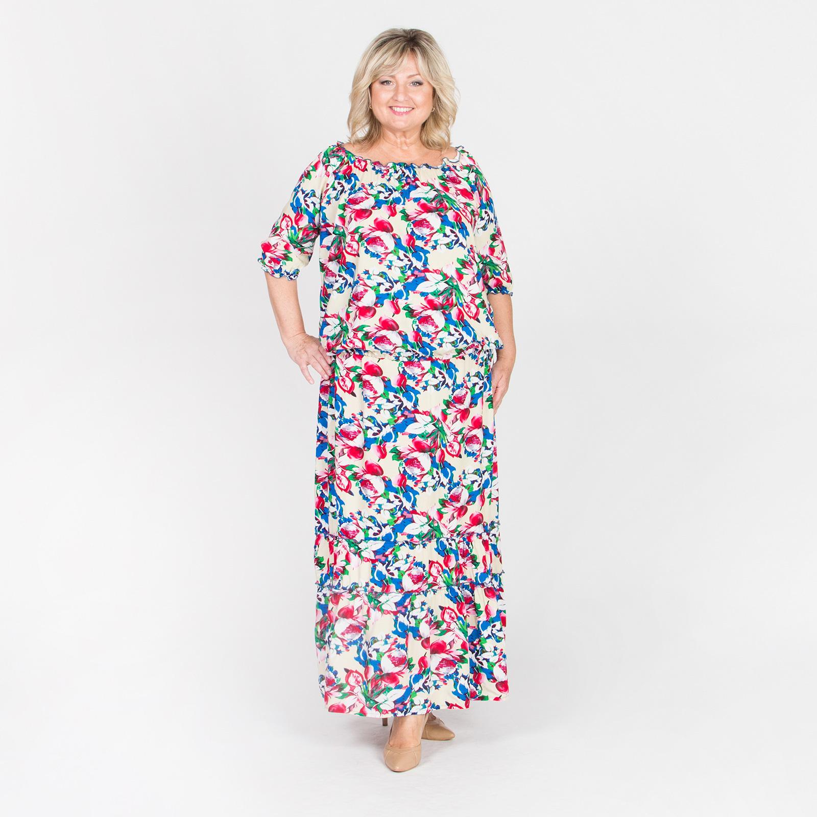Костюм летний: блуза на резинке и юбка в пол