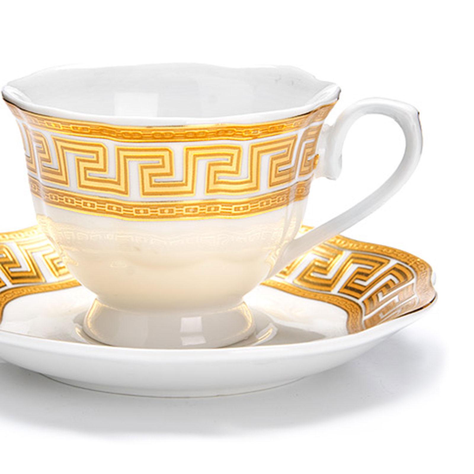 Кофейный фарфоровый сервиз с золотым орнаментом,12 предметов