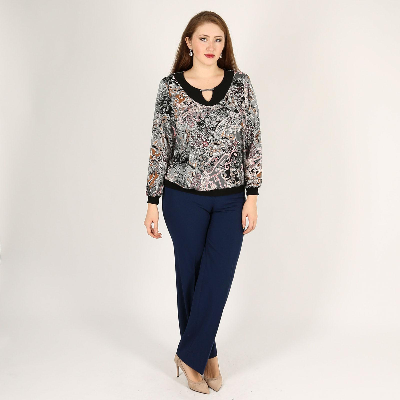 Блуза с вырезом «капля» и восточным принтом