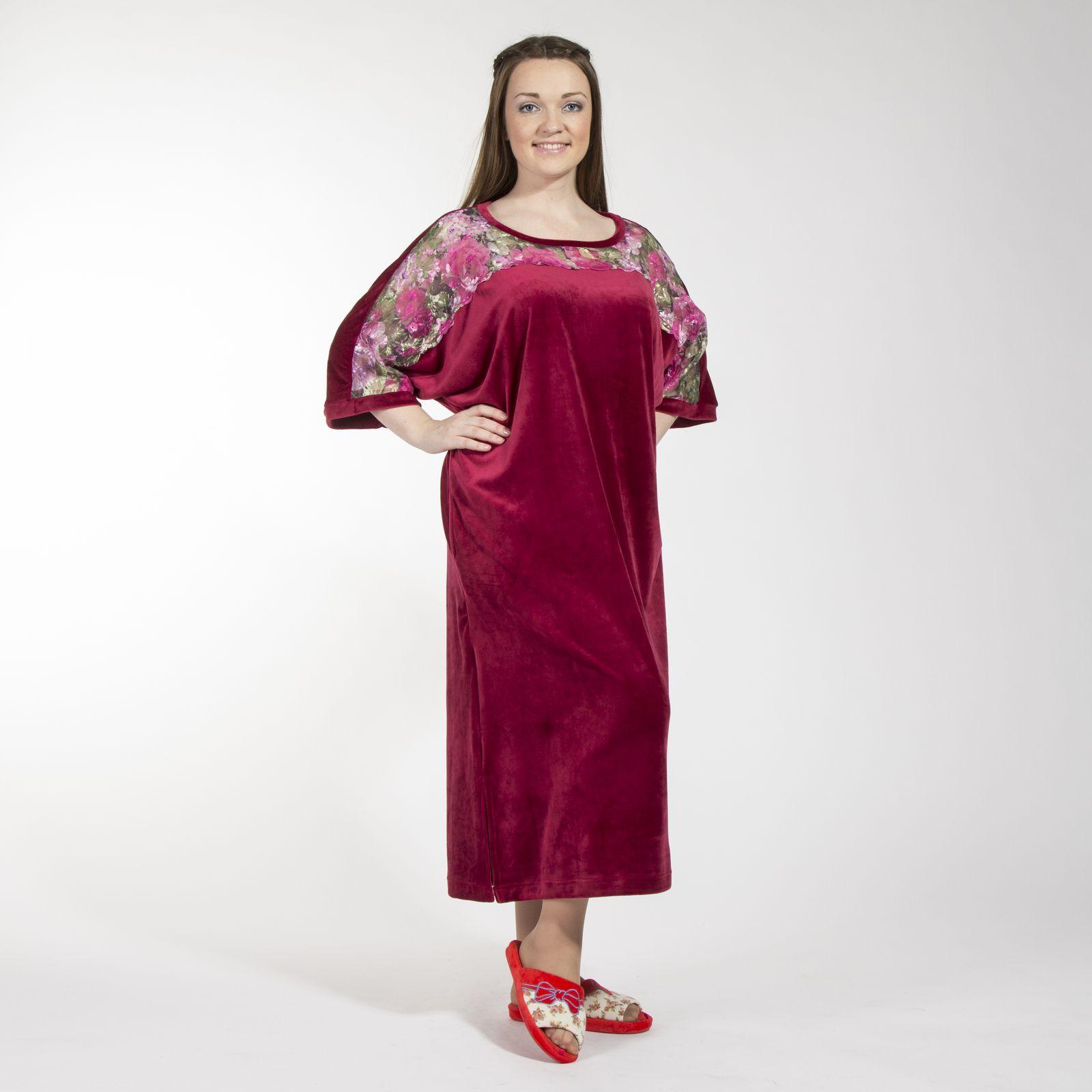 Платье домашнее велюровое с карманами