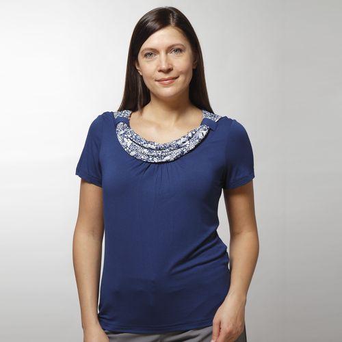 Трикотажная блуза с контрастным воротником-хомут