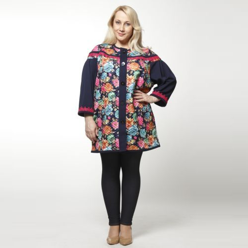 Пальто трикотажное стеганое с цветочным принтом и оригинальной отделкой