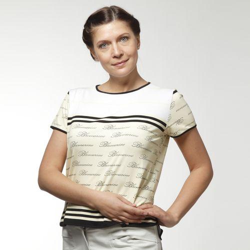 Блуза оригинального кроя с принтом