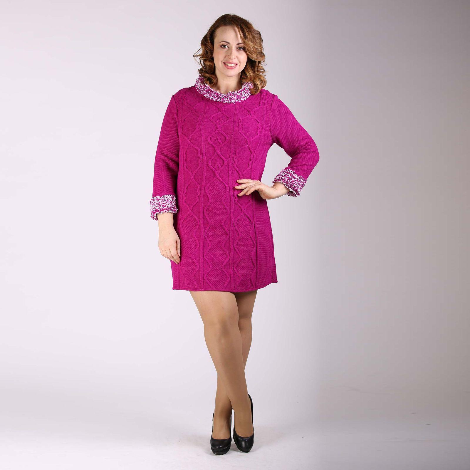 Платье фактурной вязки с бахромой