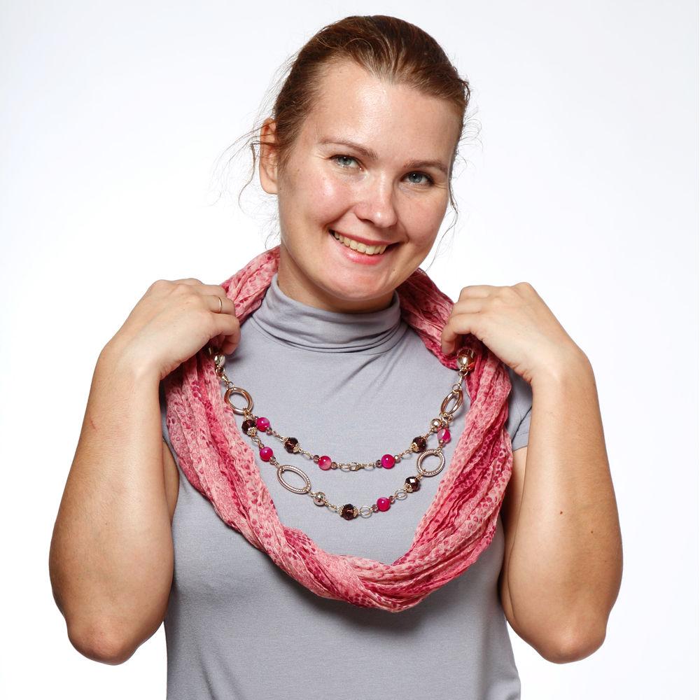 Шарф-ожерелье с принтом «под рептилию»