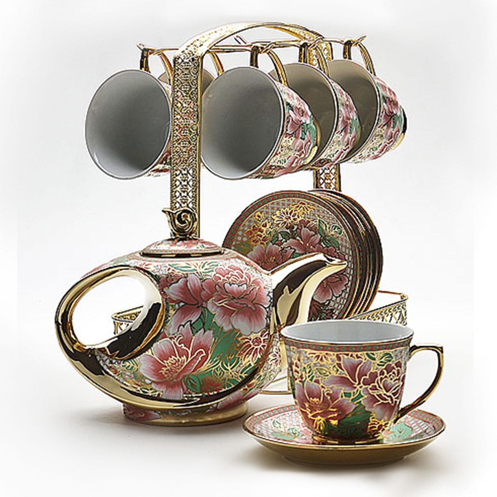 Чайный набор на золотой подставке, 14 предметов