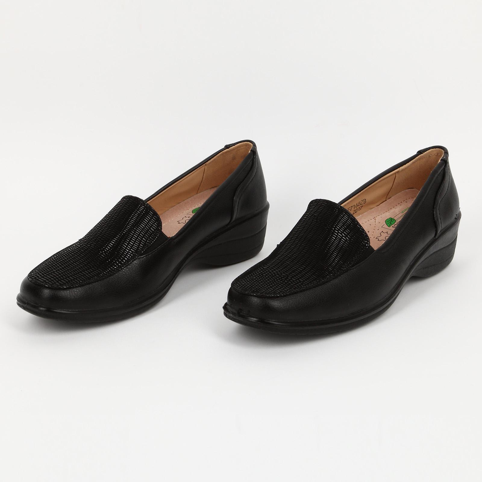 Туфли женские со вставкой под рептилию