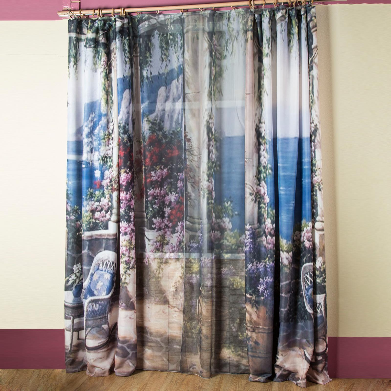 Комплект штор + тюль «Цветочная терраса»