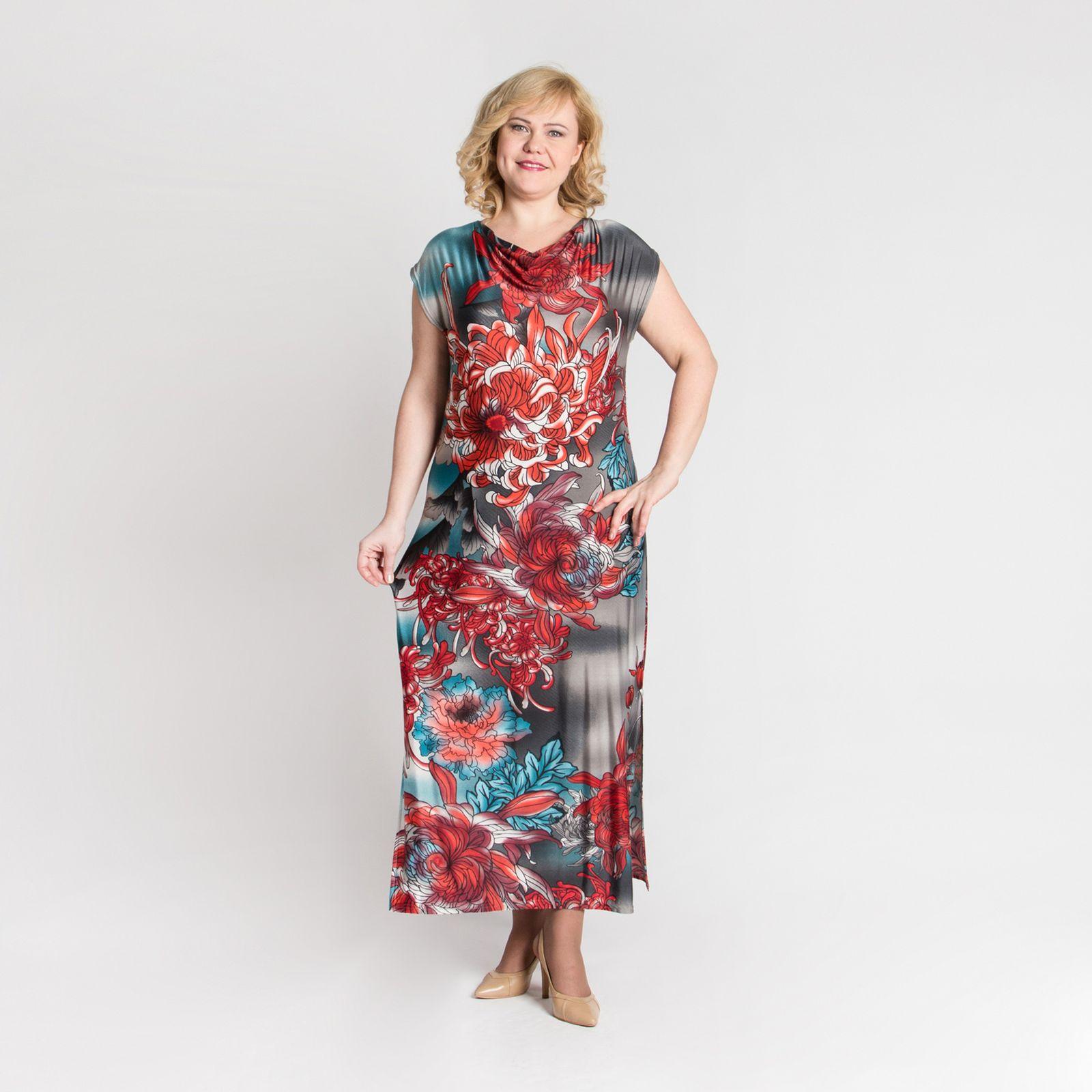 Платье-макси с принтом «Пионы»